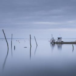 bateaux chaland, sur l'eau, pose longue, bassin arcachon, krystyne ramon