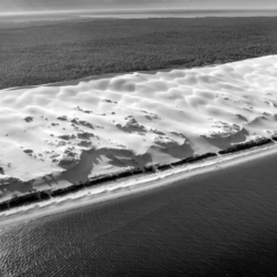 dune du pyla, noir et blanc, vu d'avion, bassin d'arcachon, krystyne ramon