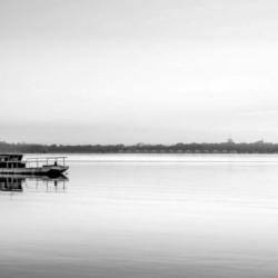 lever du jour sur le bateau, en N&B, bassin arcachon, krystyne ramon